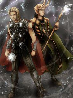 Thor and Loki  by ~Reiamae