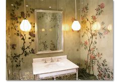 Verre Eglomisé Chinoiserie Powder Room     A series of églomisé glass panels, with complex reverse painting,  created to line the walls of a powder room from baseboard to crown.