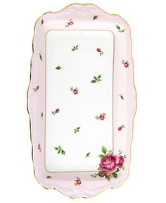 Royal Albert Old Country Roses Pink Vintage Sandwich Tray - Fine China - Dining & Entertaining - Macy's