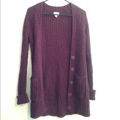 maroon cardigan maroon colored knit cardigan very comfortable and cute American Eagle Outfitters Sweaters Cardigans