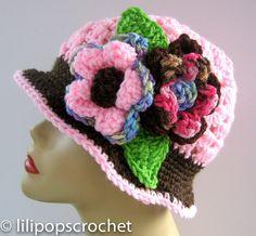 Rosa Sombrero Cloche Chocolate - Crochet el sombrero de quimioterapia de flor rosa marrón Cloche - cubo - sombrero - mujeres