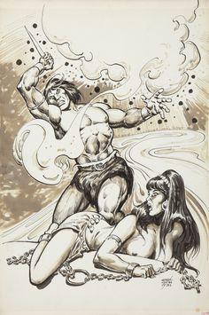 ernie chan - savage sword of conan splash page, 1981