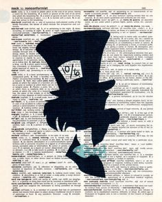Repurposed Dictionary Art Featuring Disney's Mad Hatter from Alice in Wonderland * Buy 2 get 3rd FREE by SimpleeSaid on Etsy