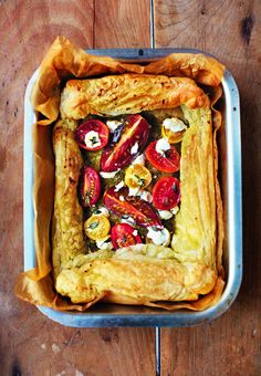 Tomato, pesto and goat's cheese tart - from The Little Book of Lunch. It's a lunchbox revolution! http://thehappyfoodie.co.uk/books/the-little-book-of-lunch