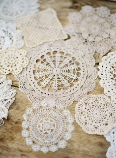 doilies - under everything! The most elaborate ones had to be sugar starched to hold their shapes.