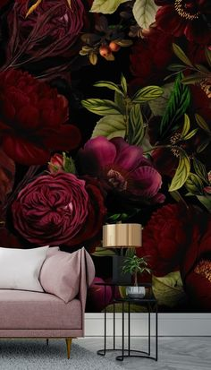 Transform your home with this made to measure Moody Maroon wallpaper. Floral Room, Floral Wall, Wall Wallpaper, Adhesive Wallpaper, Black Wallpaper For Walls, Living Room Wallpaper Accent Wall, Custom Wall Murals, Dark Interiors, Designer Wallpaper