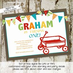 little red wagon, first birthday party invitation digital, printable file (item 265) on Etsy, $13.00