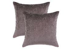 S/2 Crocodile 17x17 Pillows, Purple on OneKingsLane.com