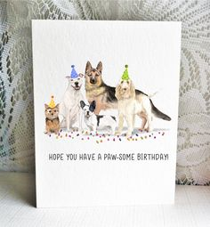 Available on Etsy, featuring a Norwich Terrier, White American Staffordshire Terrier / Pitbull, French Bulldog, German Shepherd, and Italian Spinone dogs.