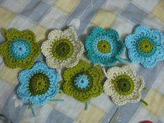 Crochet Flowers from scarp yarn.