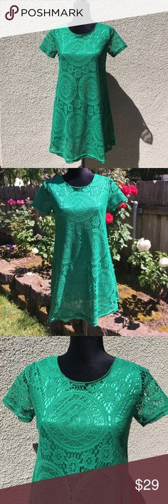 """Green lace tunic dress NWOT Kelly green lace a-line tunic dress is fully lined, fabric and lining some stretch. Size small, 36"""" around bust, 32"""" length from shoulder to hem. Easy care 100% polyester. New without tags. Boutique Dresses"""
