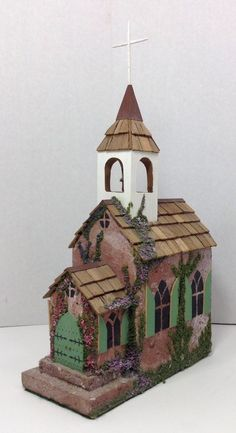Folk Art Church Decor Hand Made Wood Shingles Brick in Collectibles, Holiday & Seasonal, Christmas: Current (1991-Now) | eBay