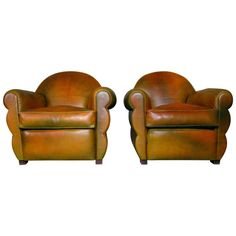 Art Deco Club Chair Armchairs 1940 Neck Leather | From a unique collection of antique and modern lounge chairs at http://www.1stdibs.com/furniture/seating/lounge-chairs/