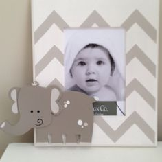 Hand Painted Picture Frame: Chevron Elephant. $17.00, via Etsy.