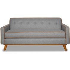 Apt2B Clinton Mountain Grey/Sweet Potato Apartment Size Sofa ($1,488) ❤ liked on Polyvore featuring home, furniture, sofas, mid century modern couch, mid-century sofa, mid century modern sofa, fabric couches and grey fabric couch