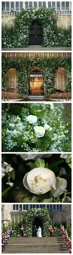 In need of some floral decoration wedding ideas? The beautiful flower display at Prince Harry and Meghan Markle's Royal Wedding at St George's Chapel, Windsor Castle, is a great source of inspiration. Floral designer Philippa Craddock created an arch of white garden roses and foliage to greet guests. Meanwhile, more roses, white peonies, foxgloves and branches of beech, birch and hornbeam were used to decorate the front of the organ loft. (Photos: Getty)