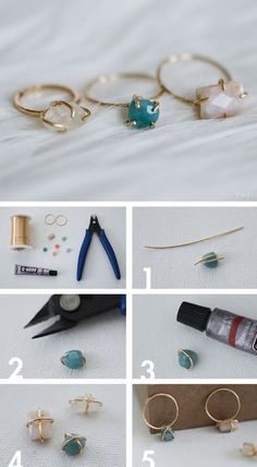 DIY Jewellery - make your own dainty stone set wire ring - craft project; handma...