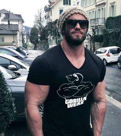 Cotton-Gym-Muscular-Print-Tee-V-Neck-Workout-Clothes-Short-Sleeve-T-Shirt-MEN