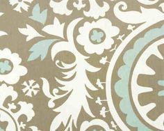 Custom Rod Pocket Curtains-Pair-Suzani, Powder Blue. $95.00, via Etsy.