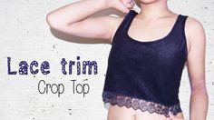 DIY ✂ Lace/ Pompom Trim Crop Top