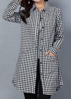 #rotita.com - #unsigned Long Sleeve Plaid Print Button Up Pocket Shirt - AdoreWe.com