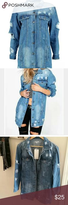 Longline Distressed Denim Jacket Brand new with tags. Never worn. Size medium. From boohoo.com Cherry Koko Jackets & Coats Jean Jackets