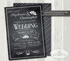 Vintage Chalkboard Wedding Invitation | Chalkboard Invitation, Typography, Bridal Shower, Baby Shower | Printed or DIY Printable Invitation