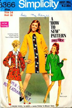 Vintage Sewing Pattern - Simplicity 8366 sewing pattern - Vintage 60's 70's Sewing Pattern - Size 14 - A Line Dress Tunic Large collar