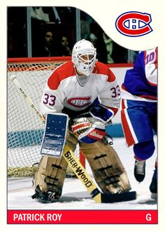 This post will start with a Pittsburgh Penguins custom order and finish with a modern legend's missing rookie card. Hockey Goalie, Hockey Games, Montreal Canadiens, Patrick Roy, Saint Patrick, Pens Hockey, Hockey Stuff, Hockey World, Hockey Players