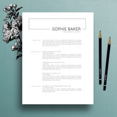 Modern Resume Template / CV Template + Cover Letter for MS Word, Professional Resume Template, Instant Digital Download, Mac + PC, Sophie
