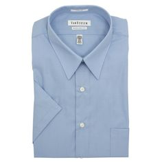 Van Heusen Mens Blue Wrinkle Free Poplin Short Sleeve Dress Shirt
