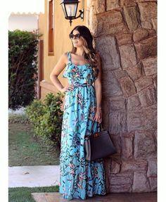 Modelos Maravilhosos de Vestidos Soltinhos Boho Fashion, Girl Fashion, Fashion Dresses, Cute Dresses, Casual Dresses, Summer Dresses, Summer Outfit, Maxi Skirt Style, Well Dressed