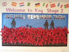 """Thank you Year 4 for making a lovely display of poppies! Remembrance Day Poems, Remembrance Day Activities, Display Boards For School, Ww1 Art, Poppy Craft, 7th Grade Art, Remember Day, Kindergarten Themes, Anzac Day"