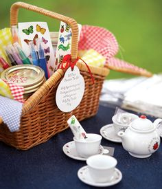 A Teddy Bear Picnic Party craft station picnic basket, make bowties for bears