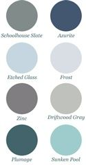 Blue/grey color scheme. Love these colors for my new home.