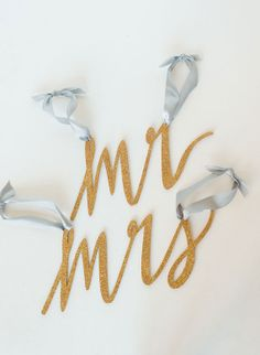 GOLD GLITTER chair signs for the Mr and Mrs by emilysteffen, $60.00