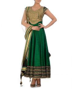 Emerald and Cream Anarkali Suit with Embellished Yoke - Regalia by Deepika - Designers