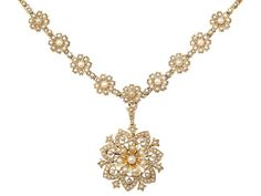 OnlineGalleries.com - Antique Seed Pearl and 15 ct Yellow Gold Necklace / Brooch