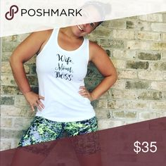 Wife. Mom. Boss Tank So cute and great quality! Bundle and save 20%. Fits true to size Iconic Legend Tops Tank Tops