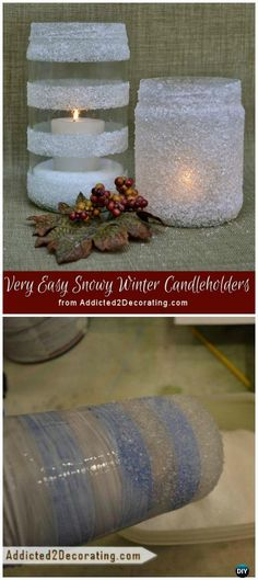 DIY Frosted Snowy Winter Candle Holders Tutorial - Frosted Mason Jar Glass Container Craft Projects DIY Instructions