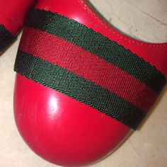 Authentic Gucci Ballerina shoes with true colors. Authentic Gucci Ballerina shoes . Colors are true to Gucci red and . In good shape have a lot of life still in them. Box included :) Gucci Shoes Flats & Loafers