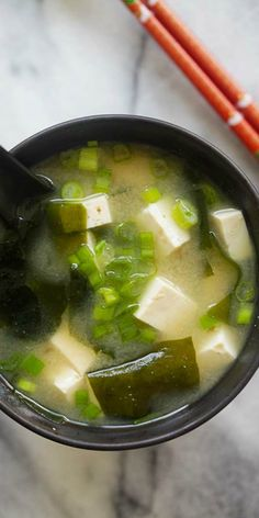 Easy Miso Soup – quick miso soup recipe with tofu and seaweed. Miso soup is hearty, delicious, healthy and takes 15 mins to make | rasamalaysia.com