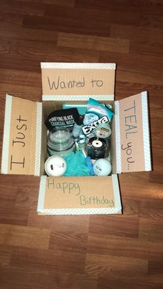"""Teal"" pun present idea! ""Teal"" pun present idea! Mom Birthday Gift, Birthday Presents For Friends, Birthday Gift Baskets, Birthday Gifts For Teens, Unique Birthday Gifts, Birthday Crafts, 90th Birthday, Birthday Ideas, Diy Best Friend Gifts"