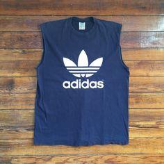 Vintage Adidas Sleevless Tee ($12) ❤ liked on Polyvore featuring tops, t-shirts, vintage t shirts, vintage tops, adidas t shirt, adidas tee and adidas
