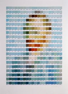 classic art remade from paint swatches