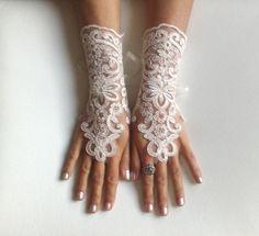 Cream gloves  free ship wedding bridal lace  by GlovesByJana, $30.00