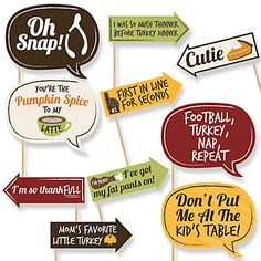 Funny Turkey Day - Thanksgiving 10 Piece Photo Booth Props Kit…