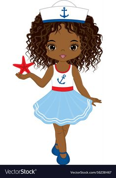 Little african american girl with starfish vector image on VectorStock Beautiful Black Girl, Black Girl Art, Black Women Art, Luau Party Crafts, Desenho Kids, Cute Cartoon Girl, Cute Girl Drawing, Cricut Craft Room, African American Girl