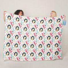 Pink Mint Unicorn Pattern Fleece Blanket - pattern sample design template diy cyo customize