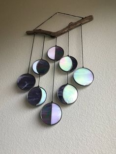 Purple Iridescent Moon Phase Hanging // Celestial Art // Moon Phase Wall Decor // Stained Glass Moon Phase // Phases of the Moon // Lunar Cy Fused Glass, Stained Glass, Semarang, Wood Wall Decor, Affordable Home Decor, Luxurious Bedrooms, My New Room, Cozy House, Just In Case